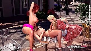Threesome Two Girls Fucking in the Public Park - 2:49