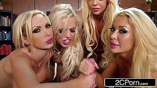 Wanking blonde in office gangbang - 8:06