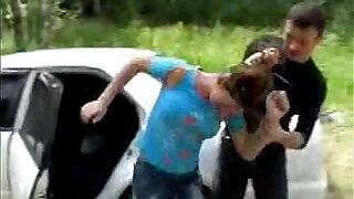 Brunette babe Fucked Next to Car - 5:00
