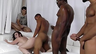 Sara jay gets ganbanged by black dudes in front of her son - 11:00
