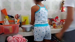 Real brother foreplay with stepsister at Kitchen - 1:19