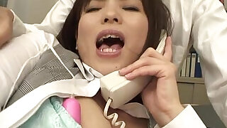 Sasaki the office worker stimulated during her business call - 0:57