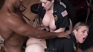 Crooked femdom cops trio with monster black thug - 6:00