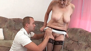 Grandma in stockings gets a facial - 5:00