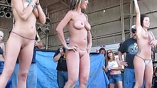 fresh real women competing in biker rally wet tshirt contest - 17:00