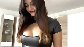 Fuck with girl in latex home porn, cum on ass, cool tits - 9:00
