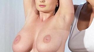 Huge natural boobs lesbians in massage room - 7:00
