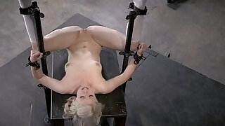 Thin Blonde Submissive In Device Bondage - 6:00
