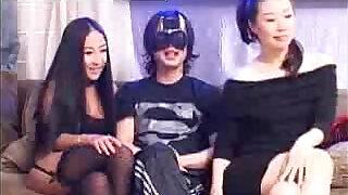 Lucky Chinese Guy fucking Japanese girls in Black - 53:00