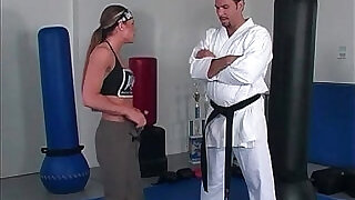 Karate girl is practice with trainer - 25:00