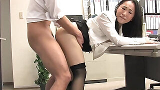 Asian lady shagged by two coworkers in her office - 8:00