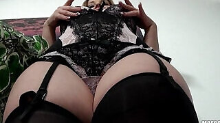 Lingerie clad blond Eve Fox gives sloppy BJ before riding dick - 11:00