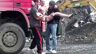 Cute teen hot girl PUBLIC sex construction site gangbang threesome - 16:00