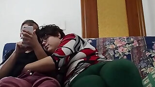 The fat girl and her boy having fun on the couch. - 23:00