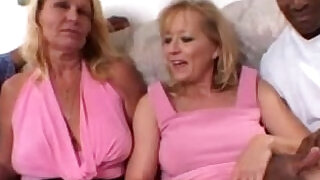 Blonde Moms share a Big Black mamba Cock together in Amateur Video - 46:00