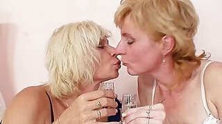 Blond milfs kissing licking and dildo fucking - 5:00